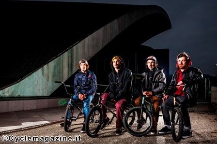 Matthias Dandois, Anthony Perrin, Simone Barraco, and tour guest Stefan Lantschner pose for a portrait in front of Palavela building during Red Bull Design Quest in Turin, Italy, on March 27, 2013