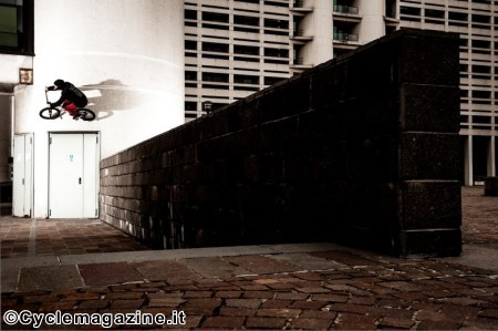 Simone Barraco wallride over the door during Red Bull Design Quest in Bologna, Italy, on April 1, 2013