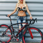 blond sexy biker girl fixed gear bicycle stradalli road bike
