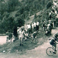 Coppi breaking away on Alpe d'Huez in the 1952 Tour de France
